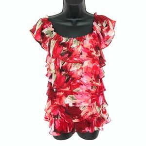 WHBM Red Floral Off Shoulder Tiered Ruffle Top